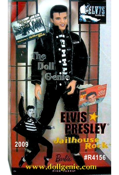 Good looks, charisma, and extraordinary talent made Elvis Presley a legend in American culture. Singer, dancer, and actor, he starred in 33 movies, including Jailhouse Rock, which inspired this portrait doll. In fitted jeans and matching jacket over a striped prison shirt, Elvis Presley Jailhouse Rock Doll captures the irresistible charm of this American icon. Signature smile and slicked back hair add to the dolls undeniable allure. Designed by Linda Kyaw.