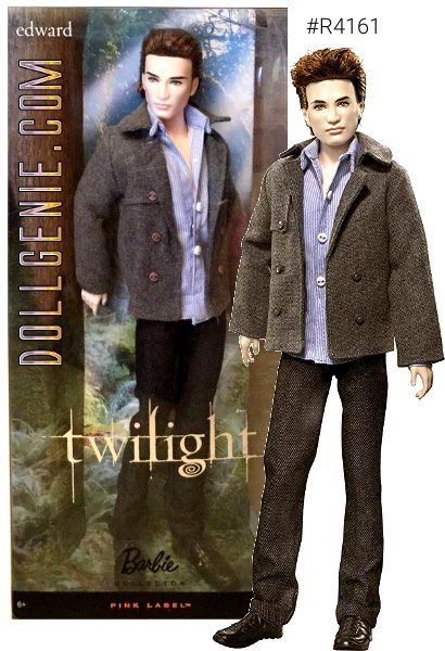 The movie Twilight tells the tale of teenage romance between mortal Bella Swan and the intriguing and dazzlingly beautiful vampire, Edward Cullen. Broodingly handsome, this doll captures the character of Edward perfectly. From his chiseled features, golden eyes, and shimmering complexion, to his stylish clothing from the film, you too will swoon for this irresistible immortal! Designed by Sharon Zuckerman