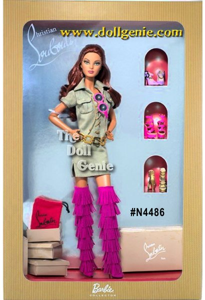Dolly Forever Barbie doll by Christian Louboutin, the second to-die-for doll created by the fashion footwear genius, is both fierce and fabulous! Dressed for an oh-so-stylish photo shoot, Barbie wears a khaki safari dress with lace-up front, golden chain hip belt, and bright pink thigh high fringe boots with Louboutin?s signature red soles. Three additional pairs of shoes, miniature shoe boxes, cloth shoe bags and pink sunglasses accompany the doll.