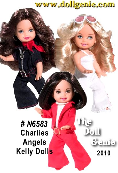 The beautiful undercover Angels pose in 1970s fashions with iconic hairstyles on a mission from the famed 1970s television series, Charlies Angels. rnOnce upon a time, there were three little girls? If you grew up in the 1970s, chances are you fell in love with these three fabulous females: Jill Munroe, Sabrina Duncan, and Kelly Garrett on a little show called Charlies Angels. Now, these three iconic characters are re-created as crime-fighting Kelly dolls. Wearing stylish 70s ensembles (jumpsuits and bold buckle belts) and sporting oh-so-fab feathered hair, these adorable dolls will ?karate chop? their way into your heart!