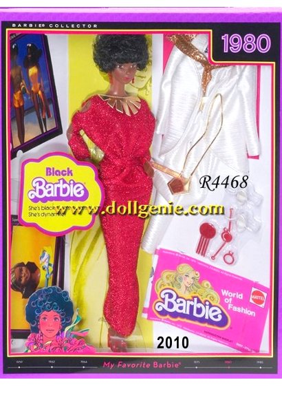 My Favorite Barbie Doll Collection returns with beloved Barbie dolls, re-created in loving detail. One cherished Barbie doll is 1980s Black Barbie doll. Although Christie premiered in 1968, this was the first African-American Barbie. This reproduction remains faithful to the original, sporting an Afro and dressed in a re-creation of the opulent red dress with golden embellishments. A second 80s reproduction fashion is included, along with 3 collector cards, and a reproduction booklet. Designed by Bill Greening