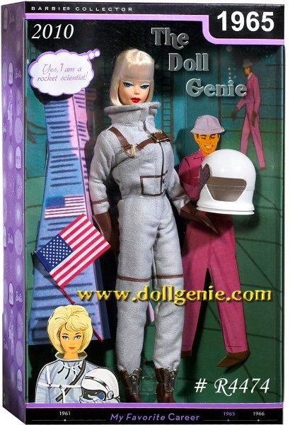 Celebrate classic Barbie careers through the decades! 1965s Miss Astronaut fashion from the 1600 series catapulted Barbie into a whole new style universe! Dressed for the final fashion frontier with a silvery metallic spacesuit, white helmet, mittens, and zip boots, Barbie doll sashays her way into space. Barbies early careers ensembles reflected the popular choices of women of the 1950s & 1960s. Now reproduced in exacting detail and dressed on a reproduction High Color Blonde American Girl from 1965 is Miss Astronaut Fashion #1641 circa 1965. Astronaut Barbie doll comes with the US flag and a globe.  Designed by Bill Greening
