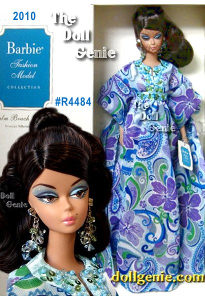 Winter blues are never welcome in Palm Beach! But the perfect outfit for sharing warm greetings, cold drinks, and tall tales A cool caftan, sparkling with sequins and worn with bold earrings! Fashion designed exclusively for the Silkstone Barbie doll body. Includes Barbie doll, caftan, earrings, sandals, doll stand and Certificate of Authenticity. No more than 5800 units produced worldwide. Designed by Robert Best