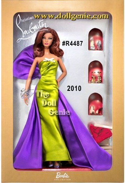 Anemone Barbie by Christian Louboutin is the third doll in the series designed by the wizard of fabulous footwear. Dressed to the nines for an extraordinary event, Barbie wears a stunning lime green gown with purple bow attached as an elegant train. Lavender shoes and a glittery bracelet complete her red carpet look.