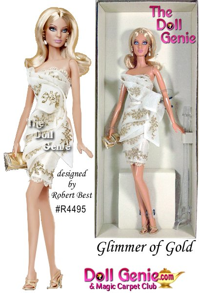 Glimmer of Gold Barbie doll celebrates the splendor and beauty of well-appointed living! Dressed for a very special event, the doll wears a lovely ivory cocktail dress, inspired by classic Grecian design and lavishly embellished with golden embroidery. Created for members of the 2010 Barbie Fan Club by designer Robert Best, Glimmer of Gold Barbie doll is part of the Platinum Label collection of Barbie dolls. Less than 1,000 worldwide