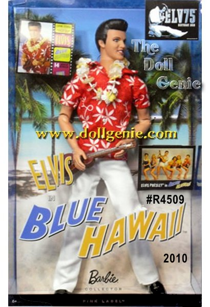 One of Elvis Presleys most successful movies was 1961s Blue Hawaii. The film featured The King as an ex-G.I. turned tour guide surrounded by an exotic paradise, exciting music, and gorgeous girls. Elvis in Blue Hawaii doll wears a Hawaiian print shirt, white pants, and a yellow and white floral lei around his neck. Signature Elvis face sculpt with curled lip smile make this doll all the more charming. Ukelele included. Designed by Linda Kyaw
