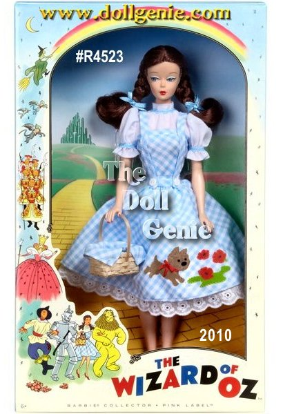 The Wizard of Oz Dorothy Barbie Doll captures a nostalgic feel with her side glancing eyes, stunning face paint, and 2 thick brunette braided ponytails. Her signature ensemble has a retro feel, too, featuring an adorable white and blue checkered petticoat dress complete with delightful Toto and floral accents. White ankle socks, ruby-red slippers, and an accompanying basket complete the look. Designed by Bill Greening