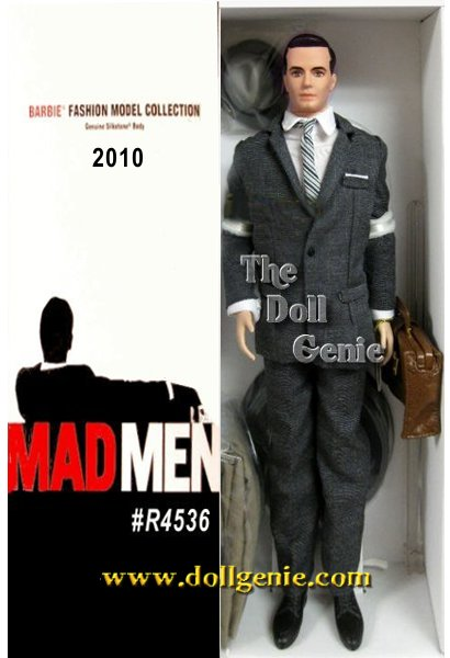 Don Draper from Mad Men, dashing ladies man and agency star, is utterly charming in a tailored grey suit, striped necktie, tan fedora with matching overcoat and leather briefcase. Designed by Robert Best