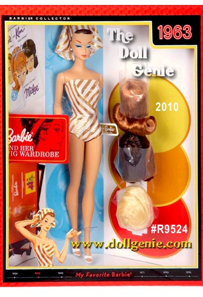 My Favorite BARBIE Doll and Her Wig Wardrobe : The year 1963 saw the first-ever Barbie feature doll. Originally, this Fashion Queen Barbie doll featured sculpted hair and came with three rooted wigs: a blonde bubble cut, brunette pageboy, and a red flip, along with a wig stand. This faithful reproduction now entitled Barbie Doll and Her Wig Wardrobe, includes a vintage-reproduction doll wearing a recreation of the original striped golden and white swim suit. Accessories include chic head scarf, mules, and pearl earrings. Also includes three collector cards and a reproduction booklet that completes this glamorous gift set. Now, a favorite Barbie doll returns for you, to share, to love forever! Doll stand included.