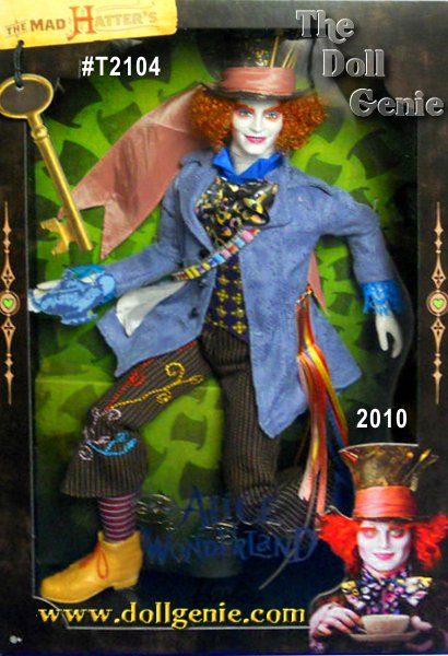 Tim Burton brings his unique take on a favorite story to the Disney film, Alice in Wonderland. Here, the Mad Hatter doll wears a costume exactingly re-created from the movie. From his delightful top hat that frames his cartoonish features and curly red locks to his colorful costume, this is one adorable doll youll go mad for!