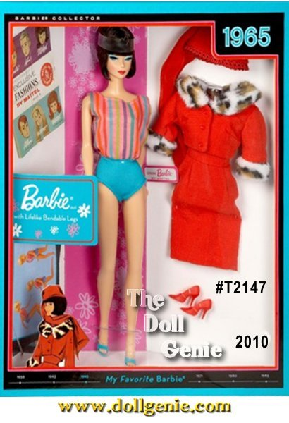 1965 introduced a beautiful, bendable leg Barbie. Known for her stylish new hair do, she was available in platinum, blonde, ash blonde, titian, and brunette. This vintage reproduction brunette doll wears a re-creation of the original one-piece swim suit featuring striped top and turquoise bottom. Inside the package is a reproduction of Matinee Fashion #1640 from 1965, 3 collector cards, and a reproduction booklet. Designed by Bill Greening
