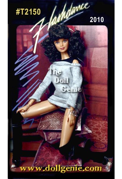 Celebrating Flashdance, the popular romantic musical from 1983, Barbie doll mirrors the iconic look from the well-known movie poster sporting sweatshirt, leggings and more. Mackie face (closed mouth) doll and pivotal body. Doll cannot stand alone. Designed by Bill Greening. Chair is not included but pillows are part of the packaging. (The pillows are chip board not fabric, and are an integrated part of the packaging.)
