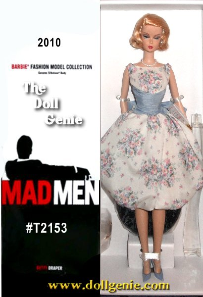 Perfectly coiffed Betty Draper from Mad Men poses in a floral party dress adorned with a pearl choker and glittery clutch containing powder compact, lipstick and comb. Designed by Robert Best