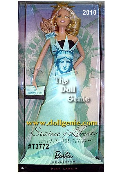 Barbie commemorates the 30th Anniversary of Dolls of the World Collection with the Landmark Collection, featuring Barbie dressed in gowns inspired by some of the world?s most famous architecture. Statue of Liberty Barbie doll captures the style and glamour of the famous city she represents New York. Blonde, beautiful, and statuesque, Barbie wears a gorgeous gown with an iconic Statue of Liberty illustration on the front.