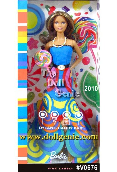 All things sweet including the ultimate Candy Queen, CEO, and founder of Dylans Candy Bar, Dylan Lauren - inspire the scrumptious signature style of Dylans Candy Bar Barbie doll. As pretty as a swirly, whirly lollipop, her gown is colorful eye candy. Candy necklace, slip on heels, and a large lollipop add to her sweet and sophisticated allure.Designed by Linda Kyaw.