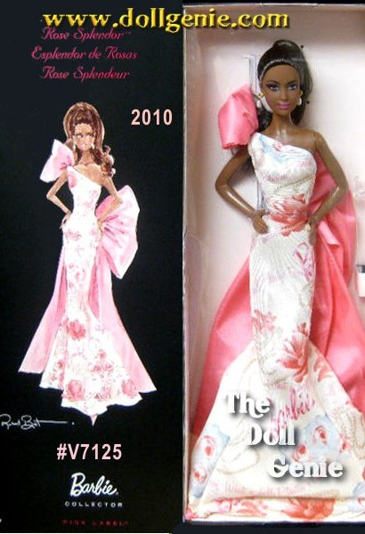 Bring home the exquisite and gorgeous Rose Splendor Barbie to enhance your collection with her sheer presence. Dressed in grand and beautiful gown, this 2010 Barbie doll look dramatic in her appearance. The pink drape from behind forms a shape of a bow that completes the fantastic appeal of this Barbie doll. The Rose Splendor Barbie is embellished with simple and dainty ear tops, which look chic and classy. The tresses of this 2010 Barbie doll is tied and let loose from behind, flaunting the amazing volume of her hair. An ultimate possession for all doll collectors, this Barbie doll will indeed garner you loads of compliments. African American Version