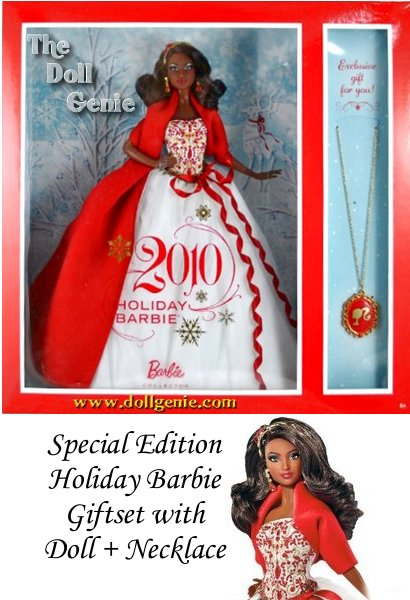 Holiday Barbie 2010 in White Gown with Red and Gold-Studded Bodice Plus Extra Long Red Wrap, Chandelier Earrings and Magnificent Head Piece African American Version V8650 Plus Bonus Necklace with Red Color Pendant For You
