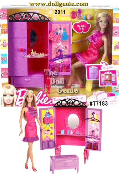 Every stylish bedroom needs this elegant purple wardrobe! It opens to reveal storage space for Barbie dolls accessories as well as a vanity mirror and table for getting glam. Room play and transformation fun all in one! Doll wears a beautiful pink dress with purple ruffled accents. Comes with ottoman that can be stored under the wardrobe. Pieces include purses, clothes hangers, and makeup accessories