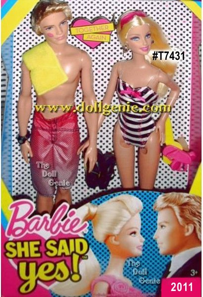 Barbie and Ken are getting back together! Barbie She Said Yes Giftset: Barbie and Ken together again. The wave of romance continues. Barbie doll is stunning in her modern black and white swimsuit and Ken impresses his doll wearing his modern swim shorts. Its a match made in heaven.