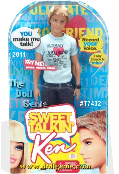 Sweet Talking Ken is Barbie dolls ultimate boyfriend for every occasion. Why? Because this Ken doll says whatever you want him to say (you talk, he records up to 5 seconds of sound, and plays back). Just press the button on Ken dolls chest to record your voice (a microphone is built into his chest) and then by pressing 3 different buttons on Ken dolls lower back you can play back in a high, normal or low pitch. What would you like Ken doll to say today - Sweet talk, of course!