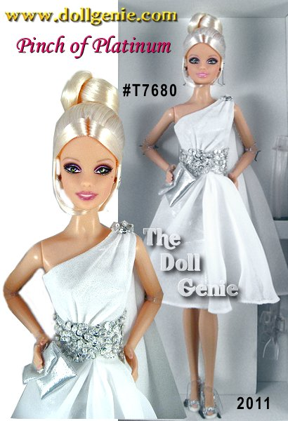 Designed by Robert Best - Grecian-inspired, high-fashion cocktail dresses define this line of dolls named after precious metals. Pinch of Platinum Barbie is the third in a series by the inimitable Robert Best, a Platinum Label doll limited to less than 1,000 dolls worldwide. She features the Aphrodite facial sculpt, a one-shouldered diaphanous white dress gathered at the waist with platinum-colored sequins, and heels with an exquisite encrusted look. Elegant, understated, and all the more stunning for it!