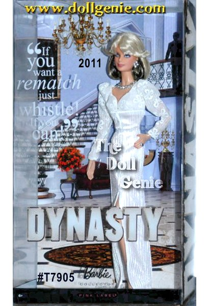 The hottest trends from the 80s are back in a big way in the Newly Nostalgic series! Featured in the 80s drama, Dynasty is the deliciously delightful and beautiful Krystle character now depicted as Krystle Barbie doll. She is dressed in her signature white-sheath gown with bold shoulder pads and of course her trademark feathered ash-blond hair and glamorous jewelry. In honor of Dynastys 30th anniversary, Barbie celebrates two of the show?s iconic characters. Embodying the chic style and glamorous beauty of Krystle, Barbie wears a stunning white gown inspired by the shows original Nolan Miller designs. Blonde, sleek, and oh so stylish, she sparkles in jewels that dazzle and delight. Designed by Bill Greening