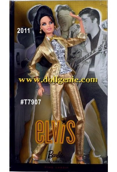Elvis Aaron Presley was known around the world as the King of Rock n Roll. Barbie puts her spin on the legendary singer, sporting a pompadour ponytail, rhinestone drop earrings, golden platforms and a sparkling silvery and golden lame suit inspired by the one Elvis wore on the cover of his album, 50 Million Elvis Fans Cant Be Wrong.  You cant help falling in love with Elvis Barbie doll, inspired by the Kings album cover, Barbie doll dons a sparkling gold lame suit and strappy shoes, and piles her dark hair into an upswept pompadour. A posable body adds the perfect extra touch to this tribute to rock and roll royalty! Designed by Linda Kyaw