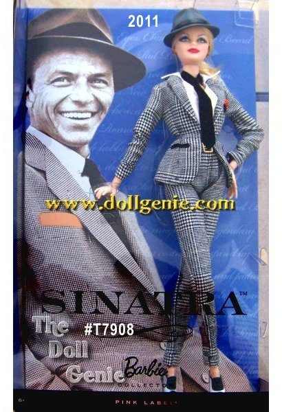 This Barbie doll artistically reinterprets Old Blue Eyes looking dapper in a smart gray suit. Barbie adds her own swinging twist dressed in a fitted Glen plaid suit, with a Frank-inspired fedora and orange pocket square. The Sinatra Barbie doll channels Old Blue Eyes in swinging style inspired by the Chairman of the Board himself! Featuring a posable body, she starts with a jaunty black and white suit, adds a white shirt and a black tie, pulls her blonde hair into a ponytail and slips on black and white platform heels. She adds a touch of flair with an orange pocket square ? Mr. Sinatras favorite color ? and tops it all off with a cute fedora! This doll will hit just the right note in any collection! Designed by Linda Kyaw