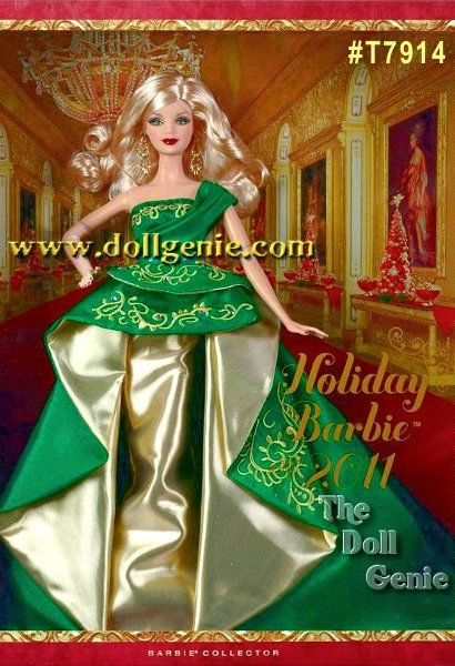An elegant take on the holidays, the 2011 Holiday Barbie doll is gorgeous in green and gold! Her strapless gown from designer Robert Best features a chic sash over one shoulder while golden embroidery adds an opulent touch. With festive red nails and dangling golden earrings, she offers happy holiday wishes and sends seasons greeting to loved ones near and far. Designed by Robert Best