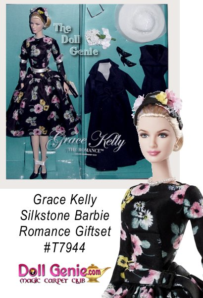 Grace Kelly The Romance Doll recreates the elegant outfit the future princess wore when she arrived in Monaco to marry Prince Rainier. From an easy to sew pattern the actress modeled for McCall magazine, the fabulous floral print dress embodies 50s elegance and class. The style features long sleeves and a tight bodice that flares out into a full skirt and is completed with a coordinating headpiece and navy pumps. A deep navy blue coat and matching dress provide additional fashion options. Her golden blonde hair is pulled back and can be neatly tucked under a white, wide-brimmed hat and matching scarf, while sunglasses shade her lovely blue eyes. A simple strand of pearls lays at her neck and another encircles her glove-covered wrist. A delicate bouquet of white violets is a reminder of the romance.Designed by Robert Best