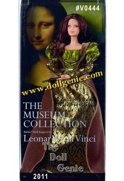 This Barbie Doll Inspired by Leonardo da Vinci - The Museum Collection is a new Barbie Collector series inspired by top museums around the world and their most iconic classic masterpieces. It is art with a fashion-fusion twist that takes the tone and manner of selected famous paintings and reinterprets them through fashion as only Barbie doll can. For da Vinci, Barbie doll is dressed in a gown with deep rich hues of gold green and amber. Her face reflects a mysterious smile, similar to that of Mona Lisa. Designed by Linda Kyaw