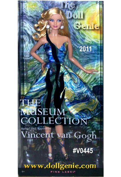 This Barbie Doll Inspired by Vincent van Gogh: Considered Vincent van Goghs masterpiece, The Starry Night depicts the swirling heavens above the French village of Saint Remy and was painted in the last year of his life. An amazing fusion of fashion and fine art, the Museum Collection dolls are a feast for the eyes! Vincent van Gogh Barbie doll captures the mood of the magnificent masterpiece, The Starry Night. She wears a strapless cocktail dress with a Cypress tree accent in black flock fabric, and the swirling patterns of the painting are echoed in her circular earrings, molded metallic sandals, and wavy hair. Both in and out of her packaging, shes the picture of perfection! Van Goghs Impressionist brush strokes are represented with Barbie dolls wavy hair and the print on her strapless cocktail dress, which also has a black velveteen Cypress tree accent. Designed by Linda Kyaw