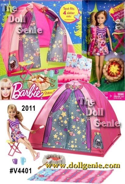 Its time for an outdoor adventure. The Barbie Sisters tent is roomy enough for all 4 sisters to camp out together. Includes Stacie doll, tent and camping accessories with a campfire, smores, sleeping bag and chair. Girls can now enjoy summer all year around with Barbie and her sisters