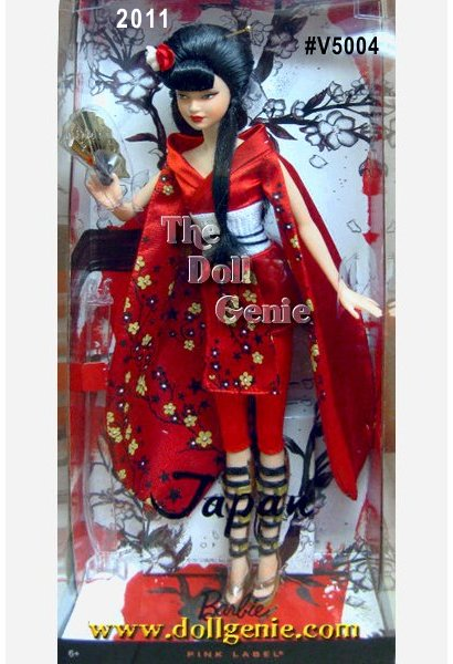 Japan Barbie doll is inspired by the beautiful noble women of her country who were well trained in the martial arts, and experts in horsemanship, swordsmanship, and archery. She comes dressed in a striking red patterned kimono with black detailing. Multi-colored knee-high platform sandals and golden fan add to her allure. Red and white flowers accent her long dark hair, and striking face paint gives her an exotic air. Designed by Linda Kyaw