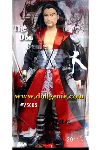 Japan Ken doll is the first Ken to appear in the Dolls of the World Collection. Featuring a brand new face sculpt, Ken looks both handsome and exotic. His Samurai-inspired costume features a high collared ankle-length coat, knee high silver/black buckled boots, white fingerless glove on left hand. In addition to his costume, it is Kens long sword the Katana that symbolizes honor in Japanese culture. Designed by Linda Kyaw