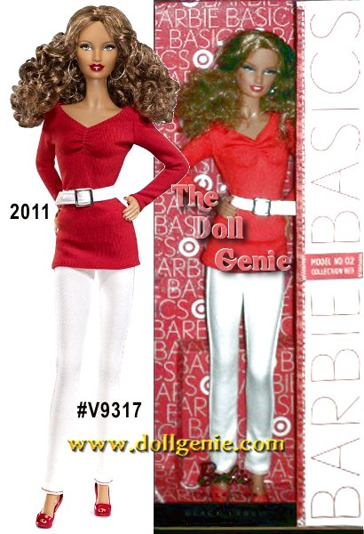 Lets hear it for red, white and Barbie! Made exclusively for Target, Barbie Basic RED Model No. 02  has a long curly afro, and wears white straight leg denim with a red v-neck top. A white belt and red pumps complete her look.