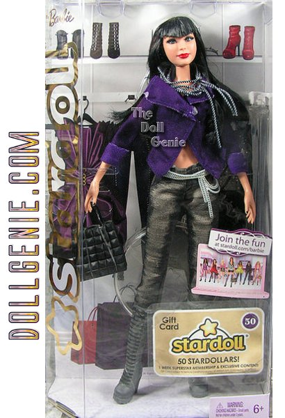 Take a walk on the wild side! This Fallen Angel Barbie pairs a powerful purple jacket with skinny jeans worn with cool chain accents. Knee high boots and a black bag are all she needs to complete her look, while long dark hair and dramatic bangs frame her fantastic face. Doll also comes with a gift card for a one-week Superstar membership online and Stardollars.