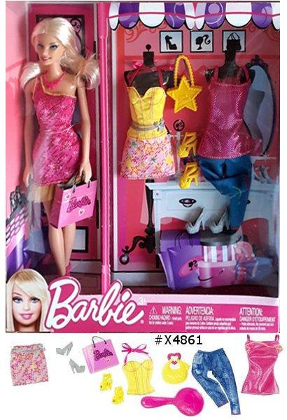 Barbie and Fashions GiftsetrnFor girls who love beautiful boutique fashionsrn- Mix and match fashions and accessories from head to toern- Comes with three complete outfits and accessoriesrn- Feature 2 handbags, 3 sets of shoes and a doll-size brushrn- Includes a Barbie doll and tons of fun accessories