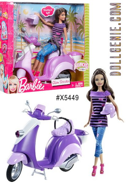Teresa zips around town on her sporty and stylish Vespa scooter in the perfect shades of purple. Doll is posable and wears fashionable city sportswear and accessories. The brunette version is very hard to find!