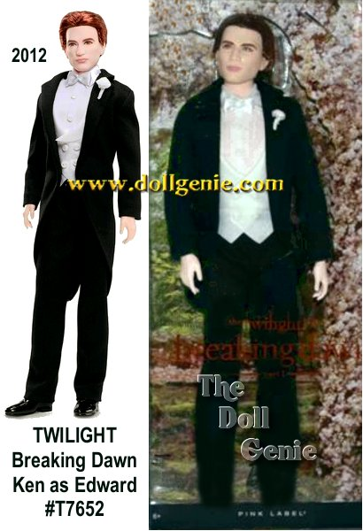 The final Edward and Bella dolls in the Barbie Twilight series are inspired by the fourth book in the Twilight series, Breaking Dawn, in which Edward Edward the groom is ready to marry his true love at last.   Dressed in tuxedo wedding attire inspired by the movie,   the Edward doll is handsome in his black tuxedo tails with crisp white shirt, vest and a satin bow tie.  A white flower boutonniere accents the lapel.