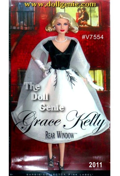 The sophisticated beauty of Grace Kelly is captured in this doll inspired by her character in Alfred Hitchcocks Rear Window. The elegant chiffon dress is a simple style with a v-neck bodice and full calf-length skirt in classic black and white. The top of the skirt features a branch pattern that extends ethereally from the belted waist. Classic pearls accessorize at the neck and wrist, while a white chiffon shawl, white satin gloves and black heels complete one of Grace Kellys most iconic looks.