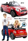 For the first time, Ken doll is getting his own car! This fiery red MINI Cooper with white racing stripes is the ultimate guys ride, but Barbie will obviously look as cute as ever when Ken takes her for a drive. Detailing includes MINI-logoed hubcaps and hood, a personalized KEN license plate and side-view mirrors that really move. Dolls not included.