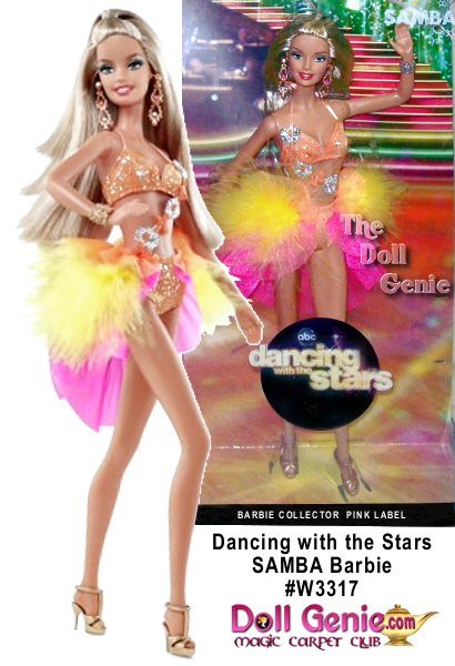 Dancing with the Stars is one of the hottest shows on television in the United States, and Barbie watches too! Here, she is dressed as a contestant assigned one of the shows most fiery dances-the Brazilian samba. The dance is typically rhythmic, happy and exuberant, and this orange two-piece costume helps to convey that message. The short, open skirt is accented with yellow feathers and pink and orange organza. For a unique style, the two pieces are linked across the front with a string of silver and orange flowers twisting down the torso. With her gold dancing shoes already on, Barbie doll is ready to dance the dance of Carnival!