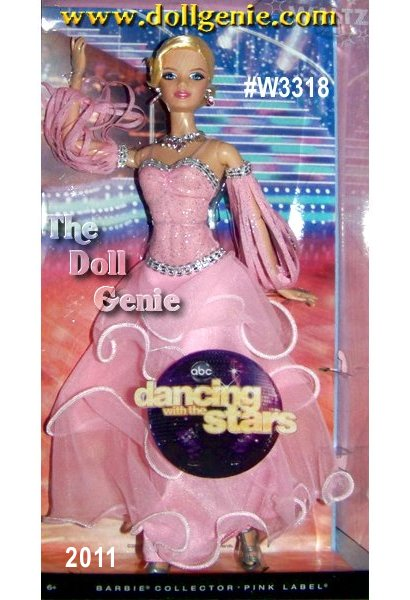 Dancing with the Stars is one of the hottest shows on television in the United States, and Barbie watches too! Here, she is dressed as a contestant assigned one of the shows most popular dances-the Viennese waltz. A graceful, elegant dance, her gown reflects these characteristics. The pink bodice is trimmed with silvery braid for a sparkling effect on the dance floor. Her long skirt, layered in three ruffles with white trim, and sleeve accents with cutouts and silvery trim add flow. Glittering jewelry matches the gown, which is a light shade of pink (of course!). With her silver dancing shoes already on, Barbie doll is ready to dance the dance that never goes out of fashion!