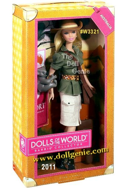 Designed by Linda Kyaw, DOTW Australia Barbie Doll #W3321 is loved around the world, and this collection returns the love with Barbie dressed in aspirational versions of ancestral dress from various countries. Barbie from Australia sports a stylish safari outfit with a fitted tweed khaki skirt (with pockets, of course!). Her olive drab, short-sleeved, button-down top is smartly cinched with an animal-print belt. Brown heeled boots with buttons up the side, a brimmed hat and an across-the-shoulder bag will keep Barbie fashionably ready for an outback adventure, while her koala bear friend will keep her company. The Barbie Dolls of the World also come with accessories to add play value that include a passport and sticker sheet to help record Barbie dolls travels.