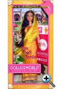 In 2012, the Dolls of the World line is all about inspiring girls to travel the world through Barbie. Barbie doll is loved around the world, and this collection returns the love with Barbie dressed in aspirational versions of ancestral dress from various countries. India Barbie wears a mustard-yellow sari with a matching hajib-like veil. Golden shoes, gold bangles and touches of red complete her traditional look, while a monkey friend highlights the countrys natural wildlife. The Barbie Dolls of the World also come with accessories to add play value that include a passport and sticker sheet to help record Barbie dolls travels