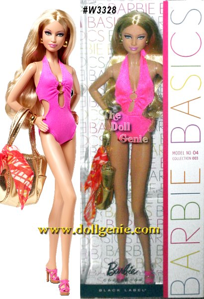 Barbie Basics is all about permission to play and this collection focuses on fashionable fun in the sun. Each Barbie doll wears an oh-so-chic ensemble complete with swimsuit and shoes in the same color, golden earrings and a bracelet, golden metallic tote and a blue or orange sarong. Model No.04 sports a blazing hot pink monokini and an orange tropical sarong!