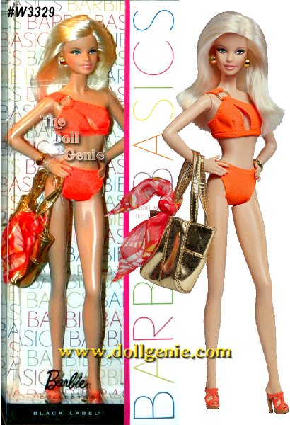 Barbie Basics is all about permission to play and this collection focuses on fashionable fun in the sun. Each Barbie doll wears an oh-so-chic ensemble complete with swimsuit and shoes in the same color, golden earrings and a bracelet, golden metallic tote and a blue or orange sarong. Model No. 07 wears a one-shouldered fiery two-piece and matches it with a tropical orange sarong!