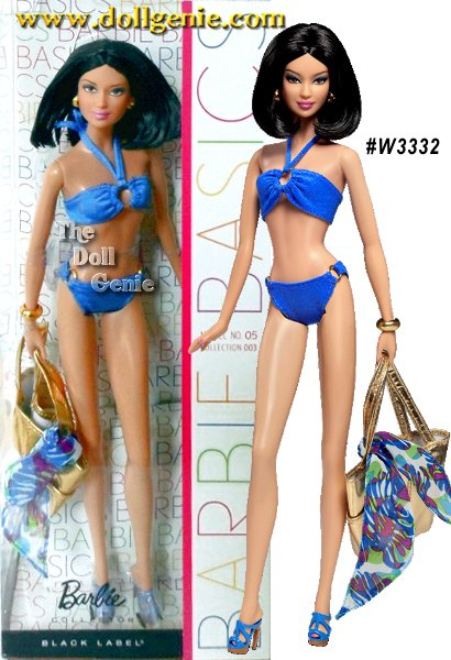 Barbie Basics is all about permission to play and this collection focuses on fashionable fun in the sun. Each Barbie doll wears an oh-so-chic ensemble complete with swimsuit and shoes in the same color, golden earrings and a bracelet, golden metallic tote and a blue or orange sarong.rnModel No. 05 models a classic two-piece with a blue tropical sarong. Simple AND chic!rnrnrnrnrn
