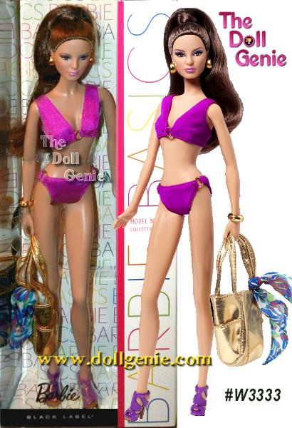 Barbie Basics is all about permission to play and this collection focuses on fashionable fun in the sun. Each Barbie doll wears an oh-so-chic ensemble complete with swimsuit and shoes in the same color, golden earrings and a bracelet, golden metallic tote and a blue or orange sarong. Model No. 14's blue tropical sarong includes accents that perfectly match her halter-top bikini!rn